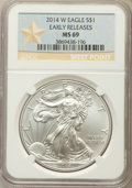 Modern Bullion Coins, 2014-W $1 Silver Eagle, Struck at West Point Mint, Early Release, MS69 NGC. NGC Census: (2051/6639). PCGS Population: (675/...