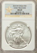 Modern Bullion Coins, 2014-W $1 Silver Eagle, Early Release, MS69 NGC. NGC Census: (2051/6639). PCGS Population: (675/2052)....