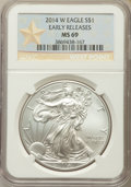 Modern Bullion Coins, 2014-W $1 Silver Eagle, Struck at West Point, Early Release MS69 NGC. NGC Census: (2051/6639). PCGS Population: (675/2051)....