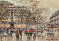Paintings, Antoine Blanchard (French, 1910-1988). Place du Palais Royal. Oil on canvas. 13 x 18 inches (33.0 x 45.7 cm). Signed low... (Total: 2 Items)