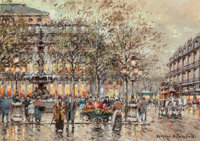 Antoine Blanchard (French, 1910-1988) Place du Palais Royal Oil on canvas 13 x 18 inches (33.0 x