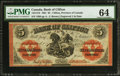 Canadian Currency: , Clifton, PC- Bank of Clifton $5 Sept. 1, 1861 Ch. # 125-12-18. ...