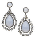 Estate Jewelry:Earrings, Chalcedony, Diamond, Gold Earrings. ... (Total: 2 Items)