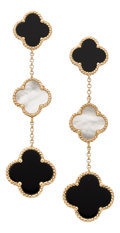 Estate Jewelry:Earrings, Mother-of-Pearl, Black Onyx, Gold Earrings. ... (Total: 2 Items)