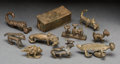 Tribal Art, AKAN, Ghana. One Lidded Box and Nine Zoomorphic Weights... (Total:10 Items)