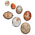 Estate Jewelry:Cameos, Shell, Coral, Lava, Marcasite, Gold, Silver Cameo Jewelry. . ... (Total: 7 Items)
