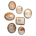 Estate Jewelry:Cameos, Shell Cameo, Gold, Silver Vermeil, Yellow Metal Jewelry. . ...(Total: 7 Items)