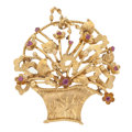 Estate Jewelry:Brooches - Pins, Ruby, Gold Pendant-Brooch. . ...