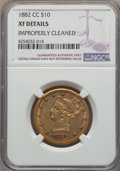 1882-CC $10 -- Improperly Cleaned -- NGC Details. XF. Variety 1-A....(PCGS# 8696)