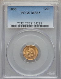 1855 G$1 Type Two MS62 PCGS....(PCGS# 7532)