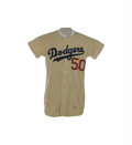 """Baseball Collectibles:Uniforms, 1952 Brooklyn Dodgers Game Worn """"Field of Dreams"""" Jersey. Like""""Moonlight"""" Graham from the famous Kevin Costner film, the o..."""