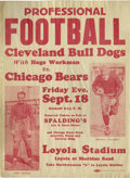 Football Collectibles:Others, 1931 Chicago Bears Broadside with Grange & Nagurski. The two greatest ball carriers of pre-war football appear on this scar...