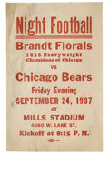 """Football Collectibles:Others, 1937 Chicago Bears Broadside. Our search for information on the """"Brandt Florals,"""" listed on this scarce broadside as the """"1..."""