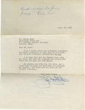 Autographs:Others, 1963 Dickie Kerr's Last Autograph? This pint-sized southpaw arrivedat Comiskey Park as a rookie in the fateful 1919 season...