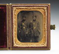 Military & Patriotic:Civil War, TINTYPE SIXTH PLATE OF TWO FULLY EQUIPPED UNION PRIVATES CA 1860S. ...