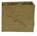"""Autographs:Others, 1930's Lou Gehrig Cut Signature. A small brown square of paper(1.5x1.5"""") provides a perfect home for an unbeatable 10/10 b..."""