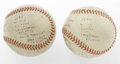 Baseball Collectibles:Balls, 1946 World Series Game Seven Used Baseballs Lot of 2. Historic pair saw action in one of the most unforgettable Octobers in...