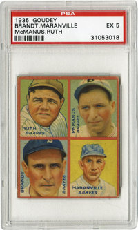 """1935 Goudey Ruth, Maranville, McManus, Brandt PSA EX 5. The most important card of these 1935 Goudey """"4-in-1s""""..."""