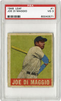Baseball Cards:Singles (1940-1949), 1948 Leaf Joe DiMaggio #1 PSA VG 3. From Leaf's last contributionto the baseball card market until 1960, this '48 DiMaggio...