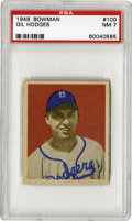 Baseball Cards:Singles (1940-1949), 1949 Bowman Gil Hodges #100 PSA NM 7. Wonderful centering andstrong corners make this Hodges rookie card stand out as exem...