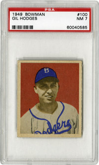 1949 Bowman Gil Hodges #100 PSA NM 7. Wonderful centering and strong corners make this Hodges rookie card stand out as e...