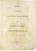 Books:Non-fiction, An Act to Establish a General Land Office, for the Republic ofTexas....