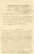 Autographs:Statesmen, [San Augustine, Texas Land Transfer] Partly-printed Document Signedby August Hotchkiss, J. J Jones and John Freeman....