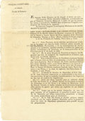 Books:Pamphlets & Tracts, [Broadside]: Original Issue of a Decree to Establish Constitutional Legislatures of the Three Newly Formed States. ...