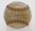 Autographs:Baseballs, 1951 New York Yankees Team Signed Baseball. Twenty-seven signatureson an OAL (Harriage) ball includes a sweet spot signatur...