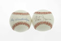 Autographs:Baseballs, Monte Irvin & Ray Dandridge Single Signed Baseballs. NegroLeague Hall of Famers. Pristine OAL and ONL balls offer 10/10 s...(Total: 2 Items)