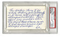 """Autographs:Index Cards, Sam Crawford Signed Handwritten Note. Ty Cobb's Hall of Fame teammate scolds a young autograph seeker, warning, """"No more Ha..."""