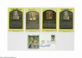 Autographs:Post Cards, Baseball Hall of Famers Signed Postcards Lot of 5. Yellow Hall of Fame plaques: Brooks Robinson (2), Bob Lemon and Judy Joh...