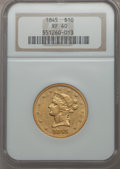 Liberty Eagles, 1845 $10 XF40 NGC....