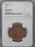 Large Cents, 1851 1C N-1, R.3, MS66 Red and Brown NGC....