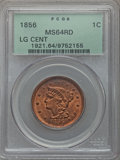 1856 1C Slanted 5, N-14, R.1, MS64 Red PCGS....(PCGS# 406212)