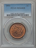 Large Cents, 1853 1C N-25, R.1, MS66 Red and Brown PCGS....