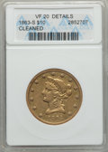 1863-S $10 -- Cleaned -- ANACS. VF20 Details....(PCGS# 8638)