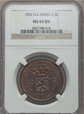 Netherlands East Indies, Netherlands East Indies: Dutch Colony. Wilhelmina I 2-1/2 Cents1902 MS64 Brown NGC,...