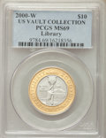 2000-W $10 Library of Congress Bimetallic Ten Dollar MS69 PCGS. PCGS Population (1517/483). NGC Census: (438/961). CDN W...