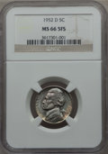 Jefferson Nickels, 1952-D 5C MS66 Full Steps NGC. PCGS Population (31/2). ...