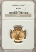 Modern Bullion Coins, 1986 $10 Quarter-Ounce Gold Eagle MS70 NGC. NGC Census: (568). PCGS Population (43). ...