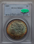 Morgan Dollars: , 1889 $1 MS64+ PCGS. CAC. PCGS Population (11728/2475 and 268/108+). NGC Census: (16147/2326 and 114/26+). Mintage: 21,726,8...