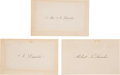 Political:Small Paper (pre-1896), Abraham Lincoln and Family: Engraved Personal Calling Cards....(Total: 3 Items)