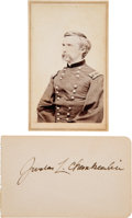 Photography:CDVs, Joshua Chamberlain: Carte-de-Visite and Signature.... (Total: 2 Items)