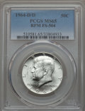 Kennedy Half Dollars, 1964-D/D 50C Repunched Mintmark, FS-504 MS65 PCGS. PCGS Population(15/5). Mintage: 156,205,440....