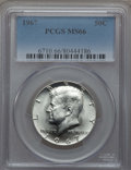 Kennedy Half Dollars, 1967 50C MS66 PCGS. PCGS Population (191/18). NGC Census: (163/6).Mintage: 295,046,976. ...