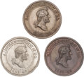 Political:Tokens & Medals, Abraham Lincoln: Three 1865 Memorial Medals, One in Silver.... (Total: 3 Items)