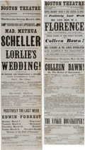 Miscellaneous:Ephemera, Civil War Era Theater. Two Boston Theatre Playbills 1863-1864....