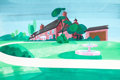 Animation Art:Painted cel background, Around the World in 79 Days Painted Background(Hanna-Barbera, 1969)....