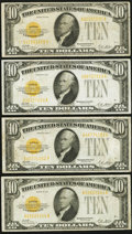 Small Size:Gold Certificates, Fr. 2400 $10 1928 Gold Certificates. Four Examples. Fine or Better.. ... (Total: 4 notes)